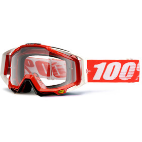 100% Racecraft Anti Fog Clear Goggles, fire red